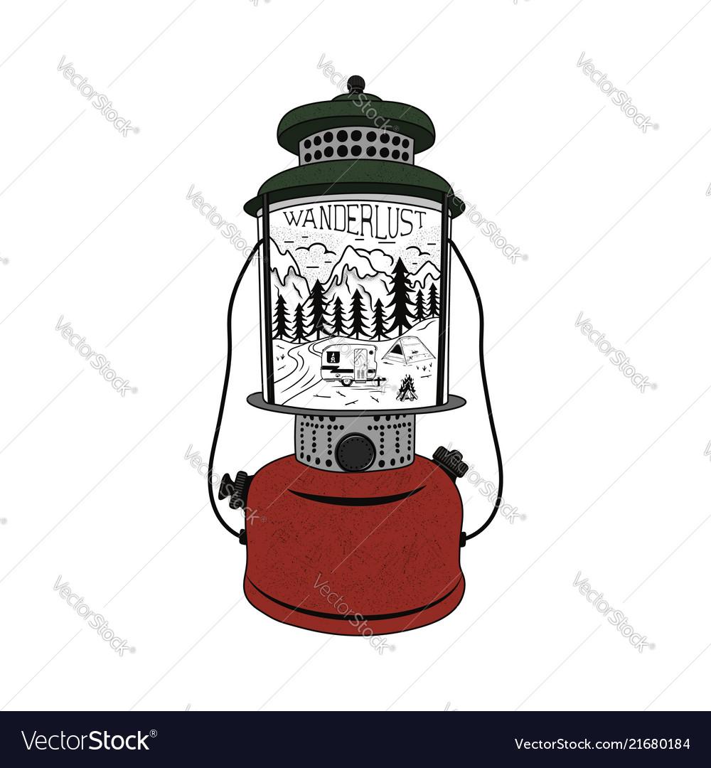 Vintage hand drawn camping lantern emblem