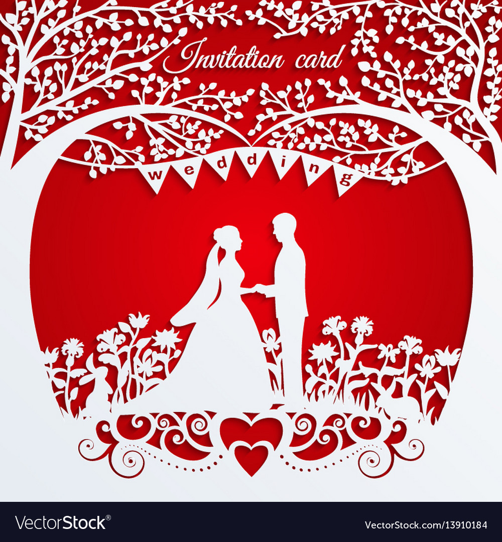 Wedding invitation card with silhouette bride and