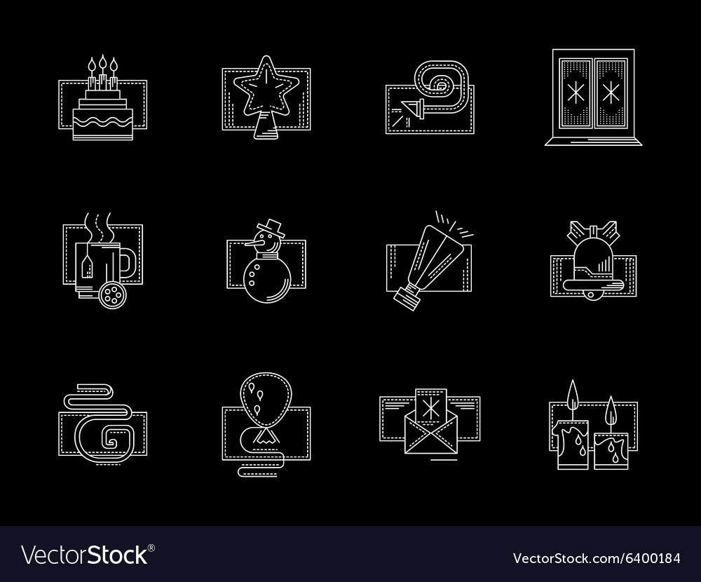 White line winter celebrations icons vector image