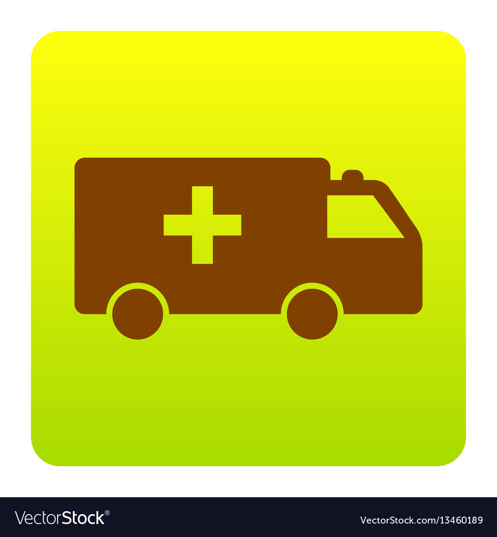 Ambulance sign brown icon at