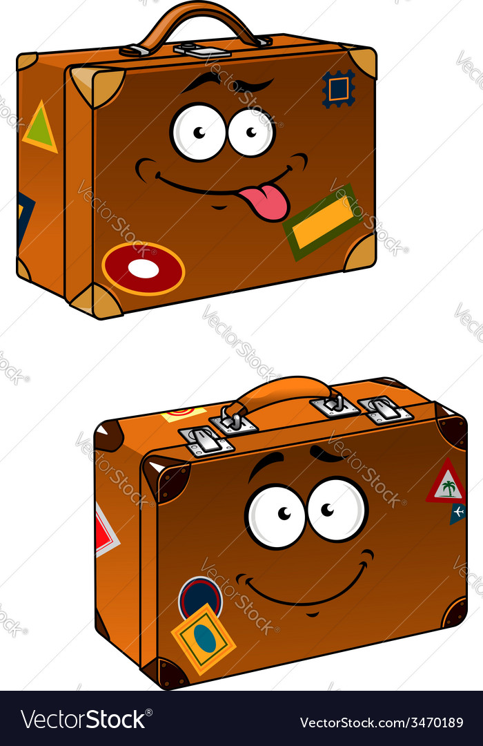 Brown travel briefcases with smiling face
