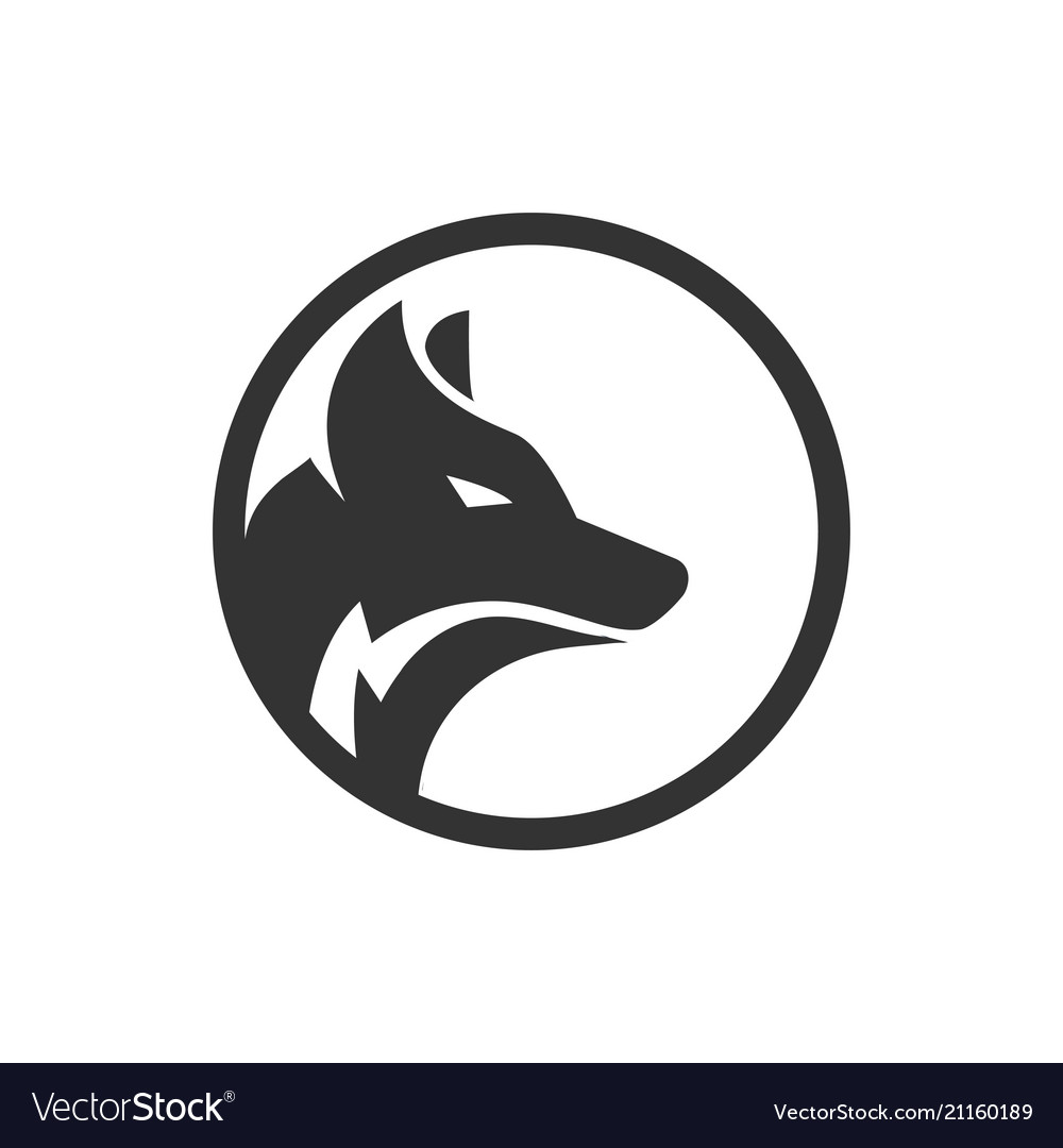 circle wolf logo design concept royalty free vector image