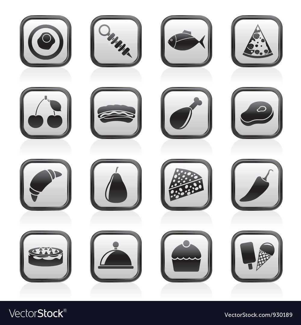 Different kind of food icons vector image