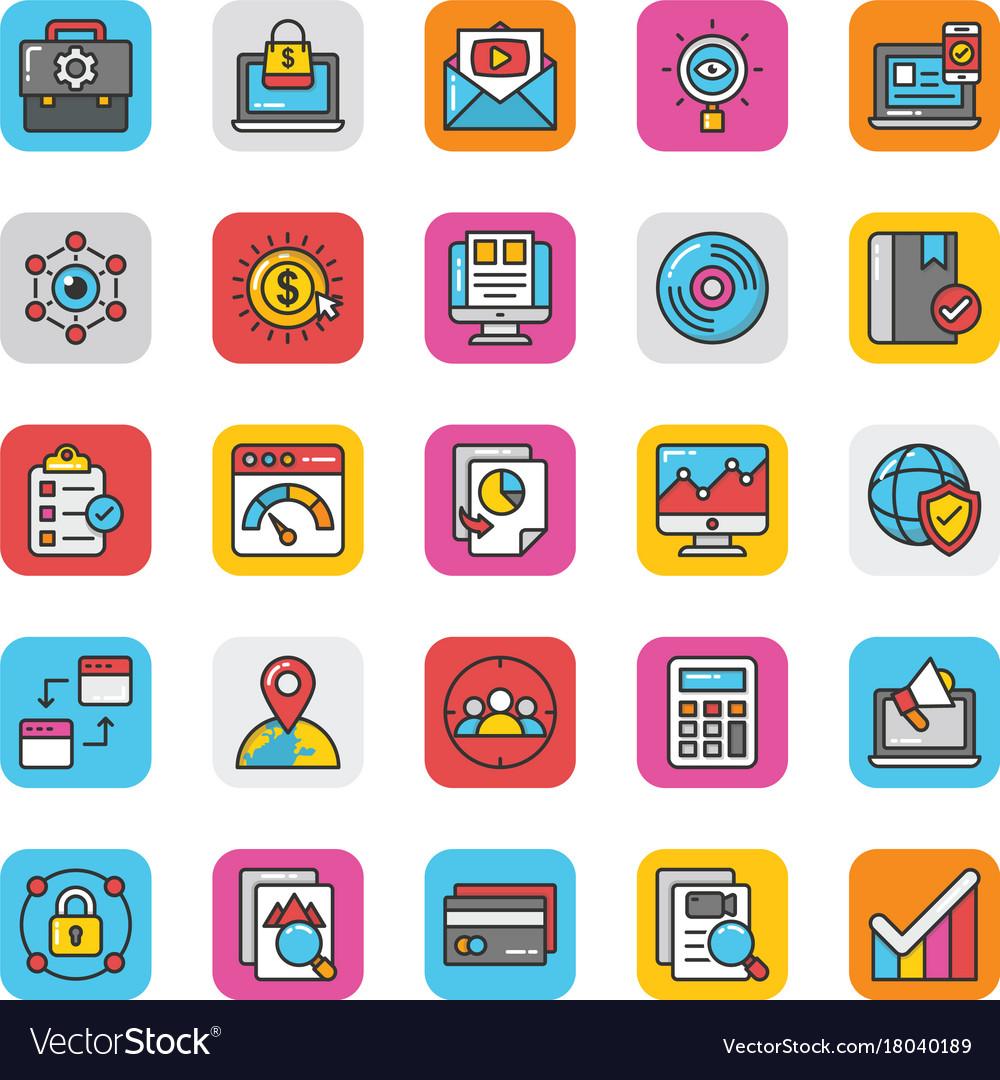 Digital and internet marketing icons set 5