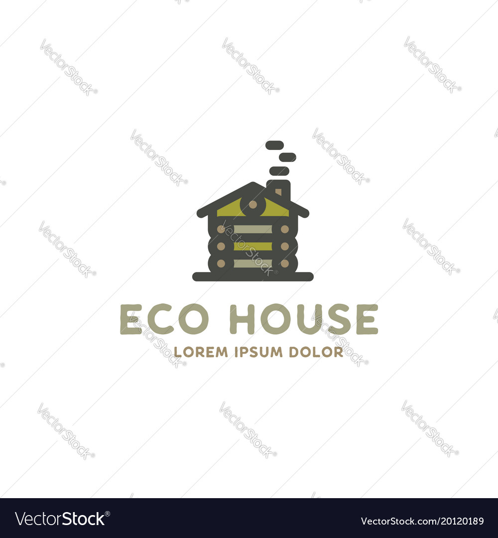Eco house logo template flat design concept of