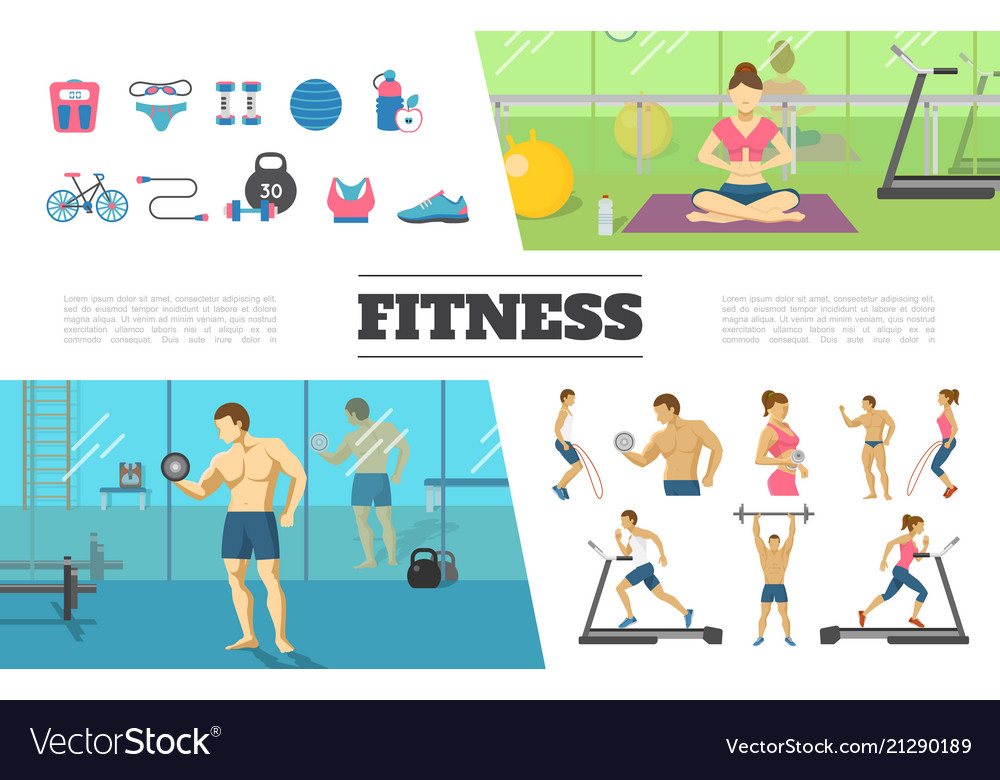 Flat fitness elements collection