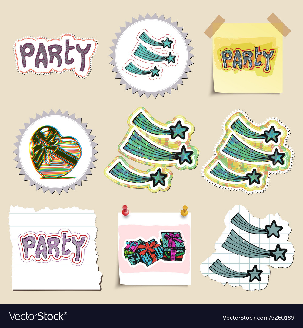 Hand drawn party and celebration emblems set