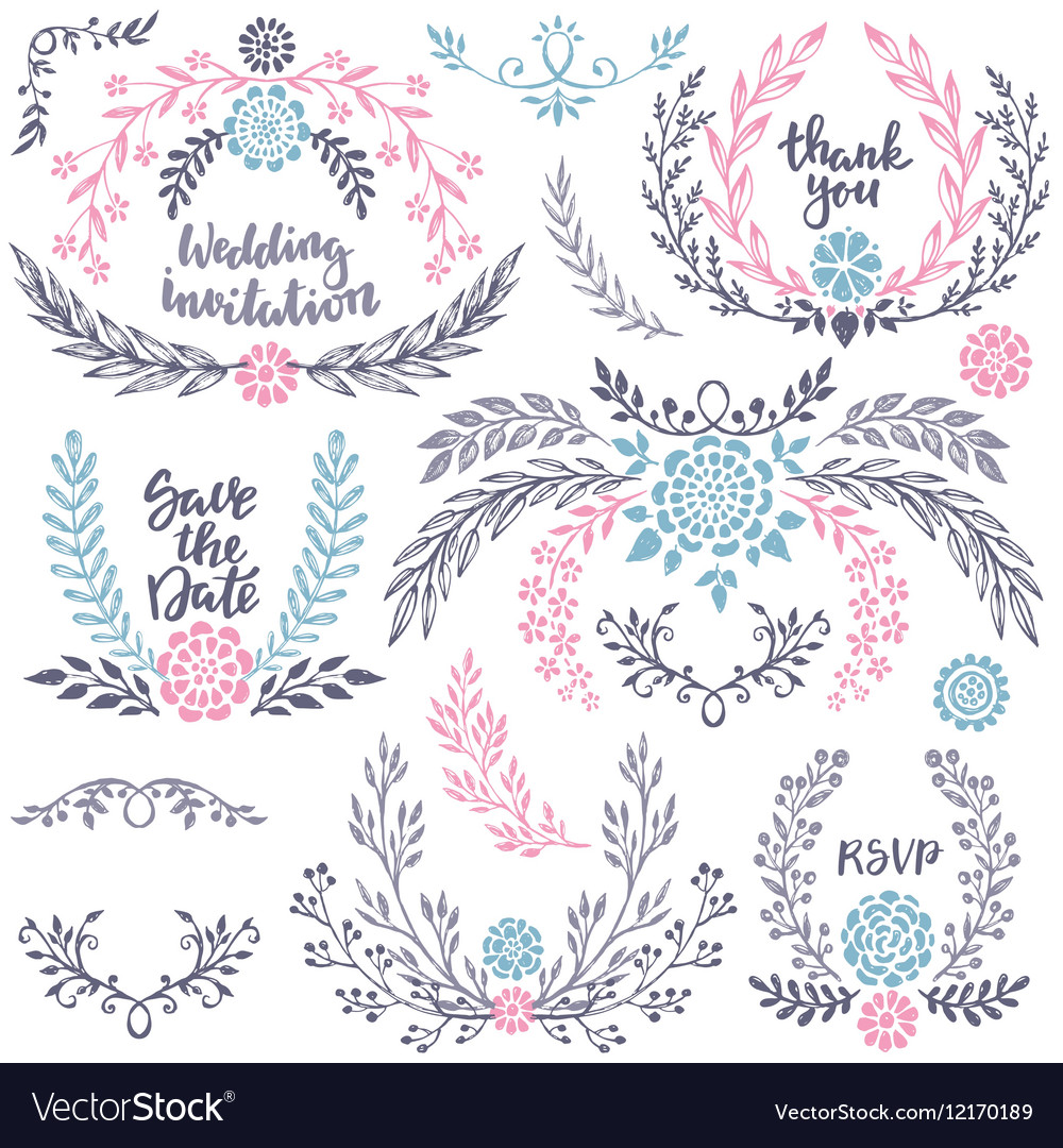 Hand drawn wedding collection with lettering