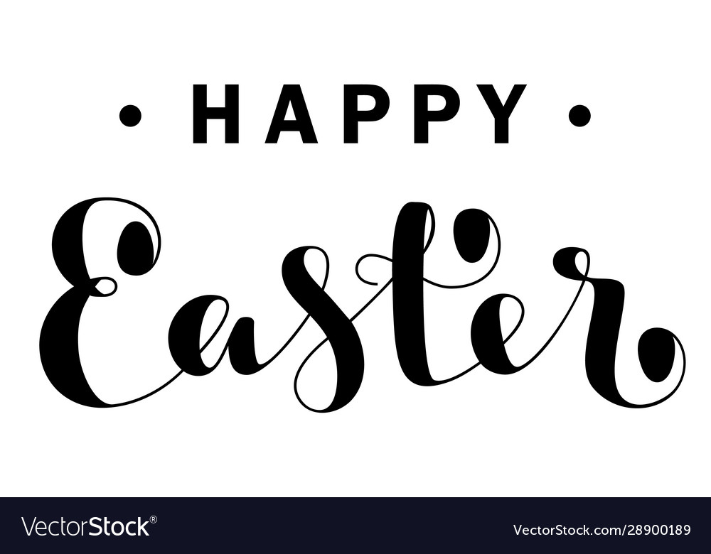 Happy easter lettering isolated on white