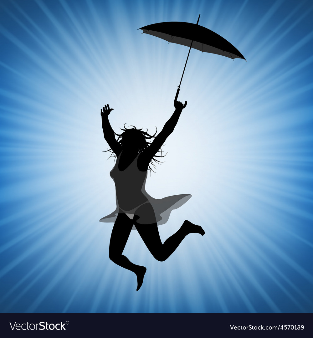 Jumping Woman With Umbrella Royalty Free Vector Image