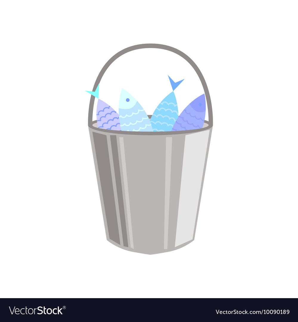 Metal Bucket Full OF Fish vector image