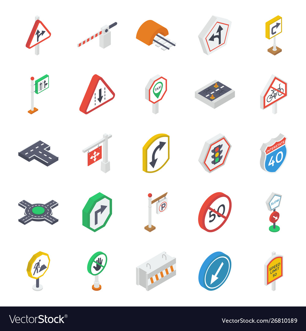 Road symbols isometric icons pack