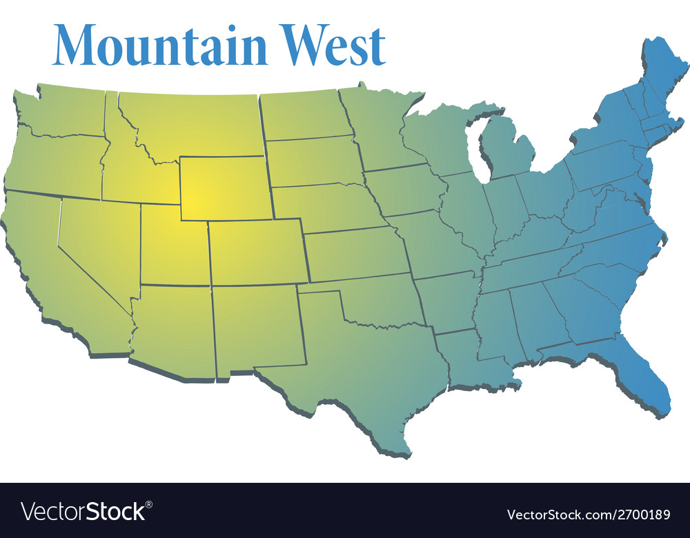 US states Region Mountain West map Royalty Free Vector Image