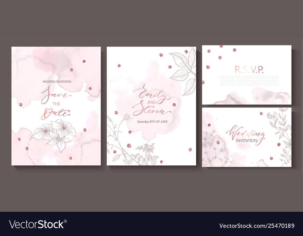 Wedding invitation cards with watercolor texture