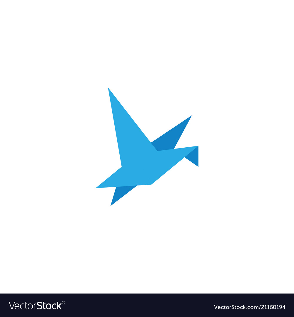 Abstract origami blue bird flying template design