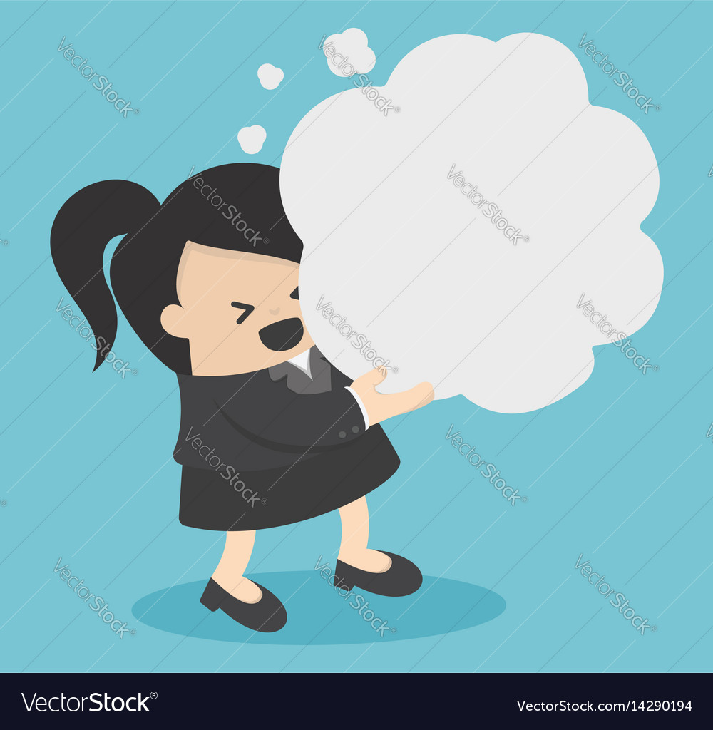 Business woman holding thought vector image