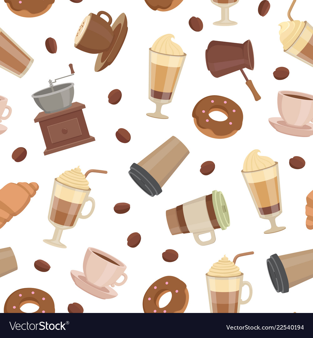Cartoon coffee types pattern or background