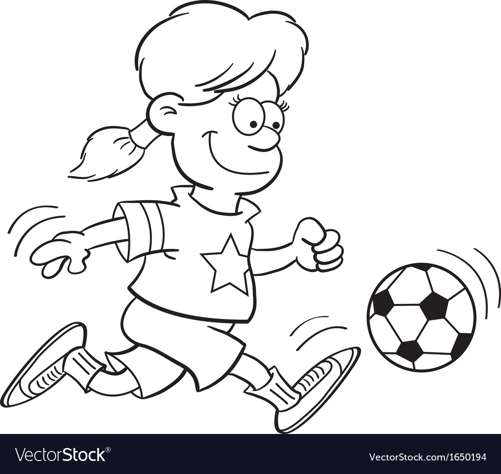 Cartoon Girl Playing Soccer