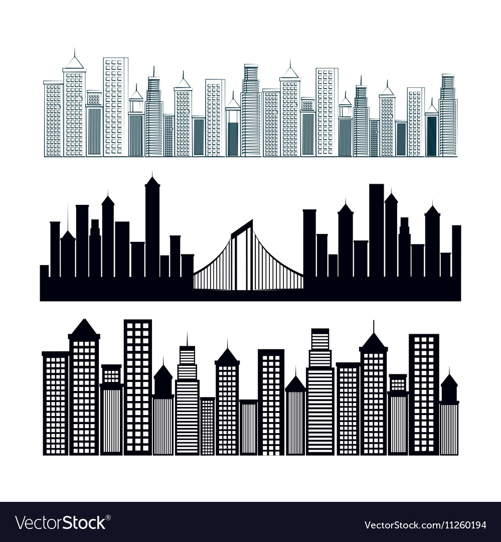 Cityscape buildings background icon