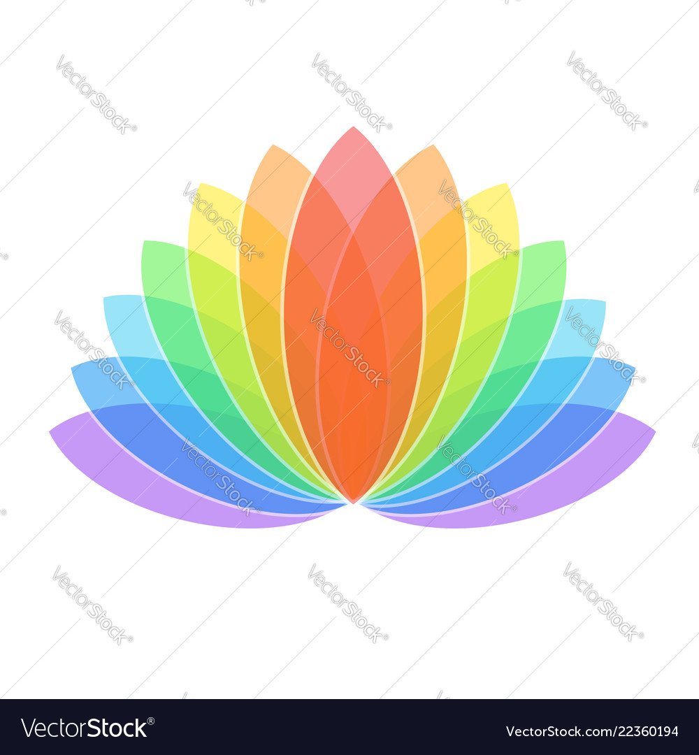 Colorful Lotus Flower Icon Logo On White Vector Image
