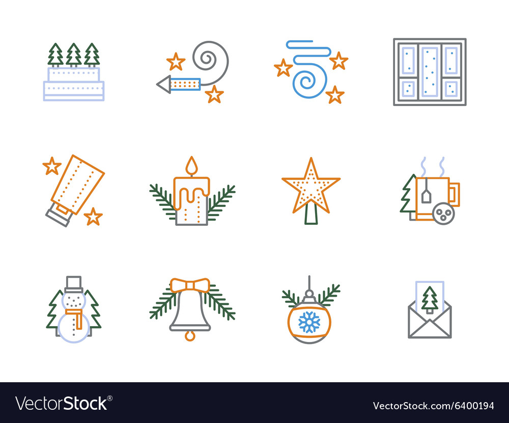 Flat linear Christmas decoration icons