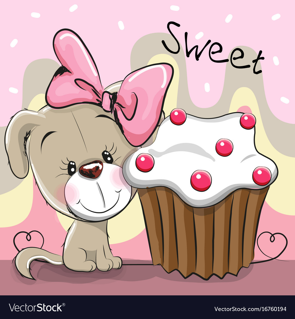 Greeting card cute puppy with cake royalty free vector image greeting card cute puppy with cake vector image m4hsunfo