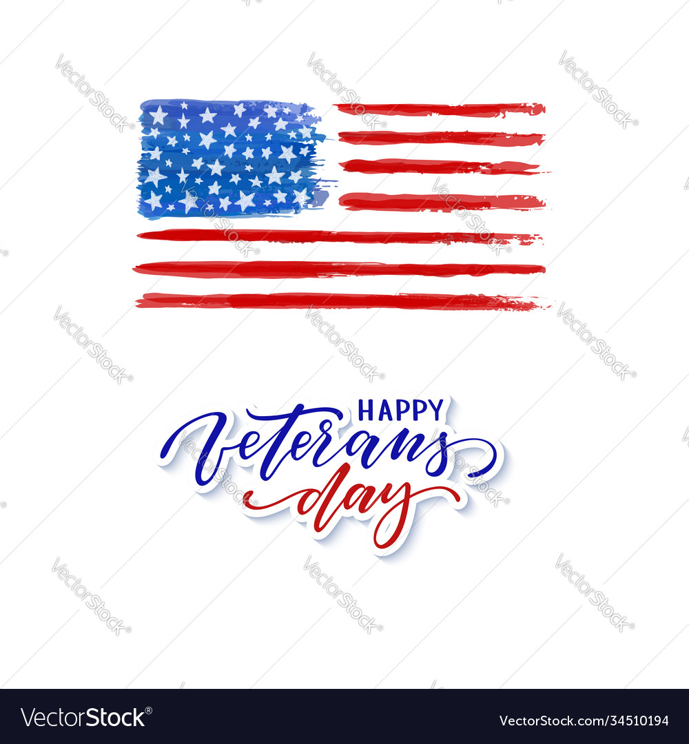 Happy veterans day typography card modern black