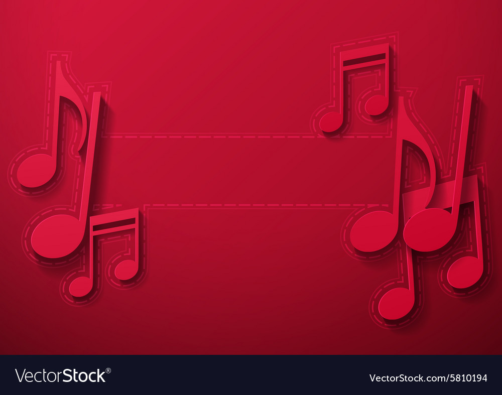 Music Notes on Maroon Background