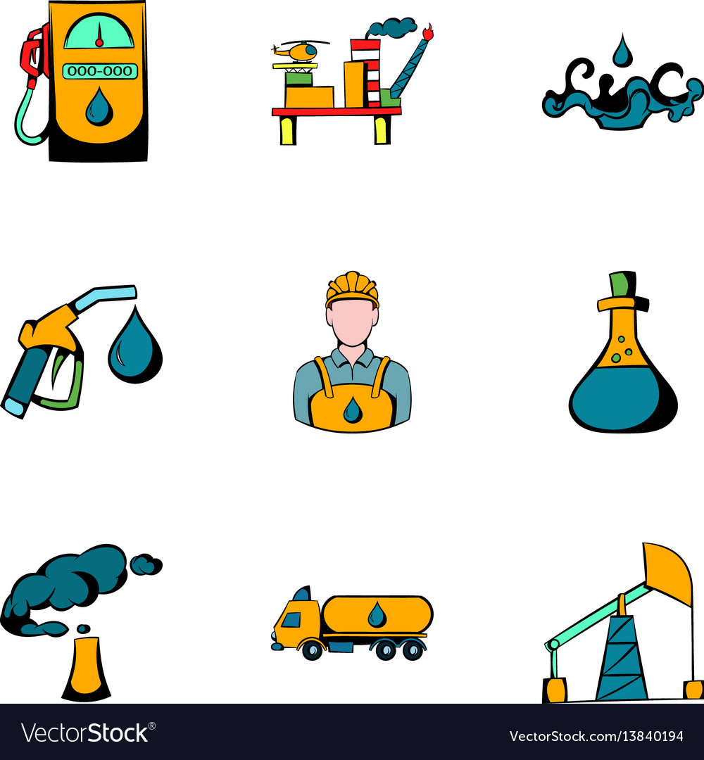 Oil icons set cartoon style