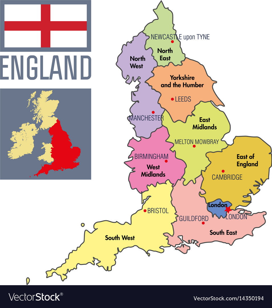 Map Of England Birmingham.Political Map Of England With Regions