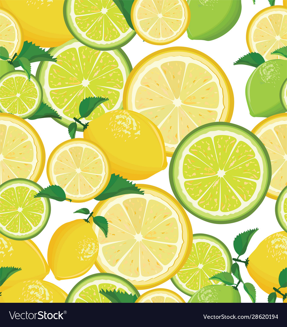 Seamless background with lemon and lime