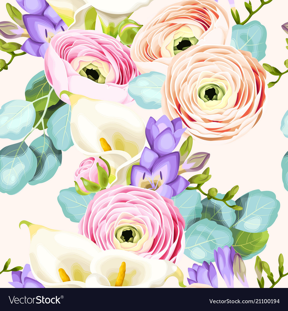 Seamless pattern with calla and ranunculus