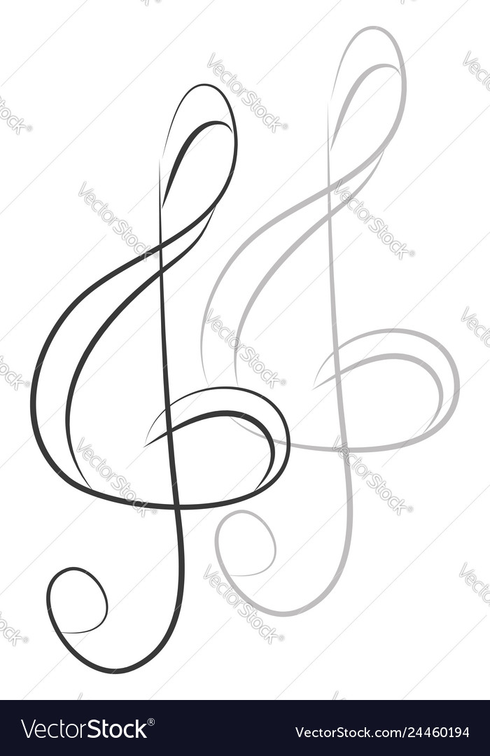 Simple violin key on white background