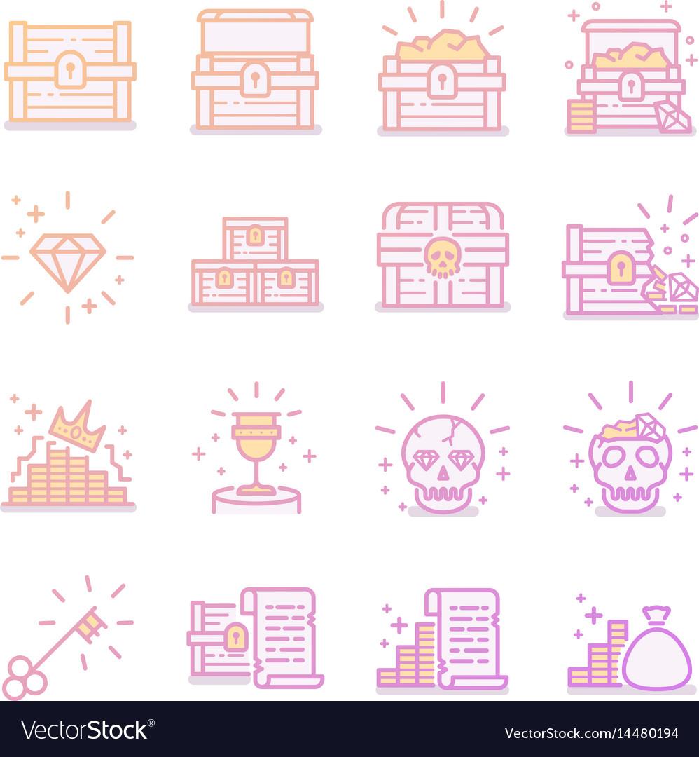 Treasure chest icon set