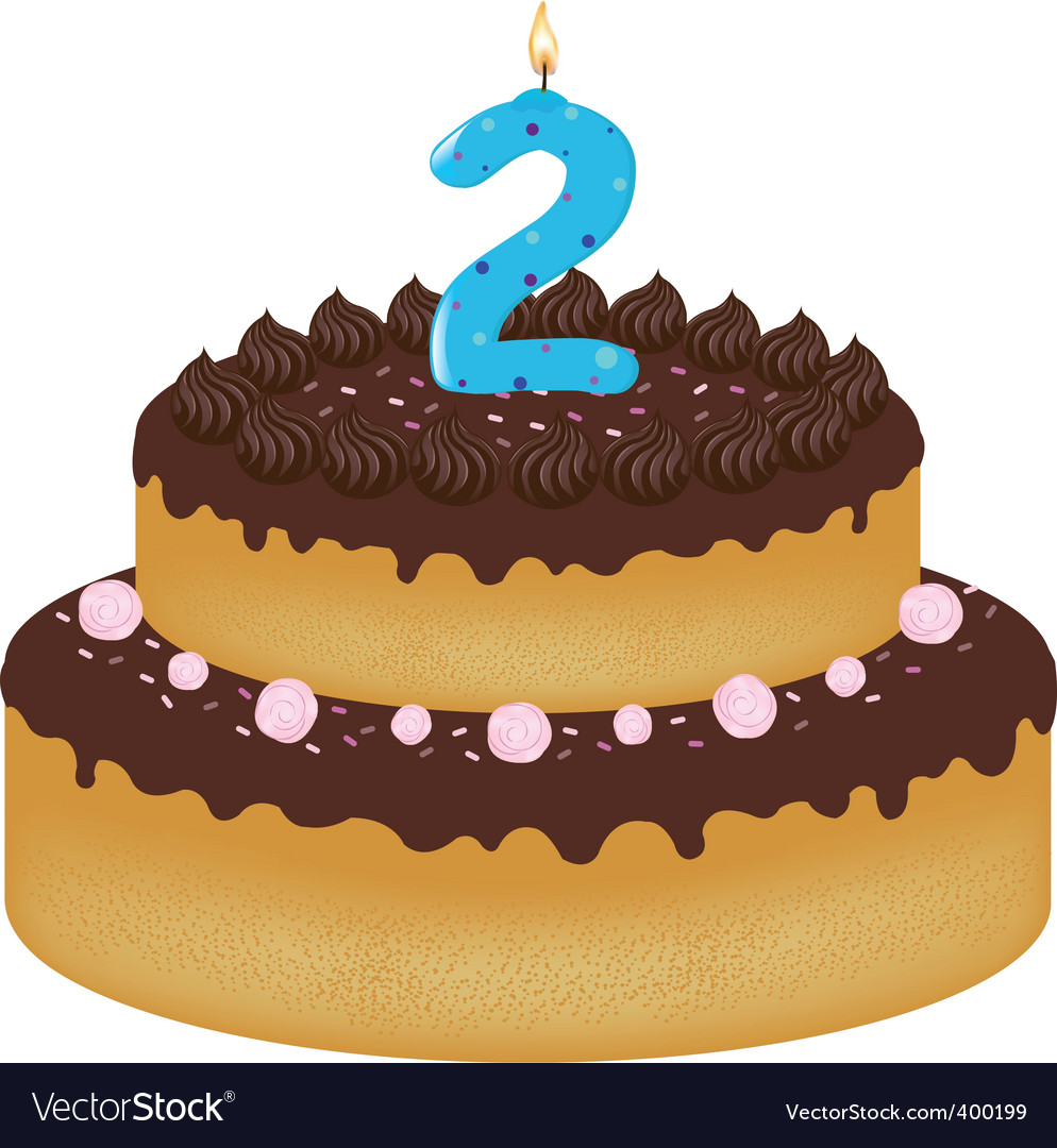 Pleasant 2 Years Old Birthday Cake Royalty Free Vector Image Funny Birthday Cards Online Elaedamsfinfo