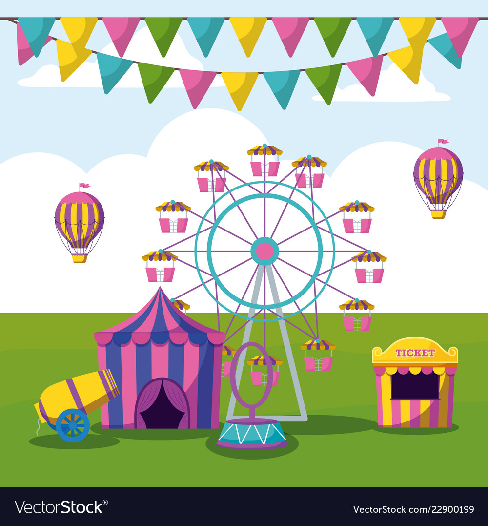 Amusement park with tents circus