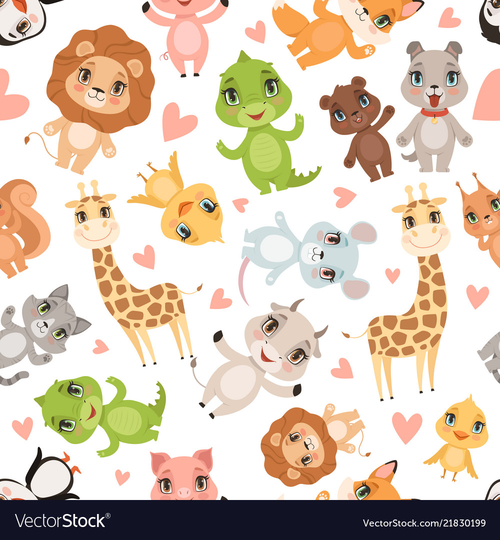 Baanimals Pattern Fabric Printed Seamless Vector Image