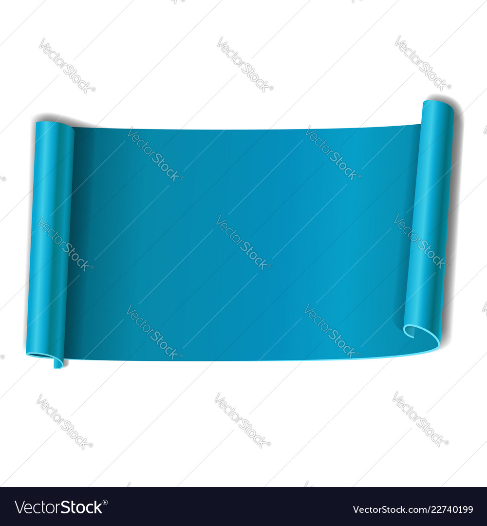 Blue scroll isolated on white background paper