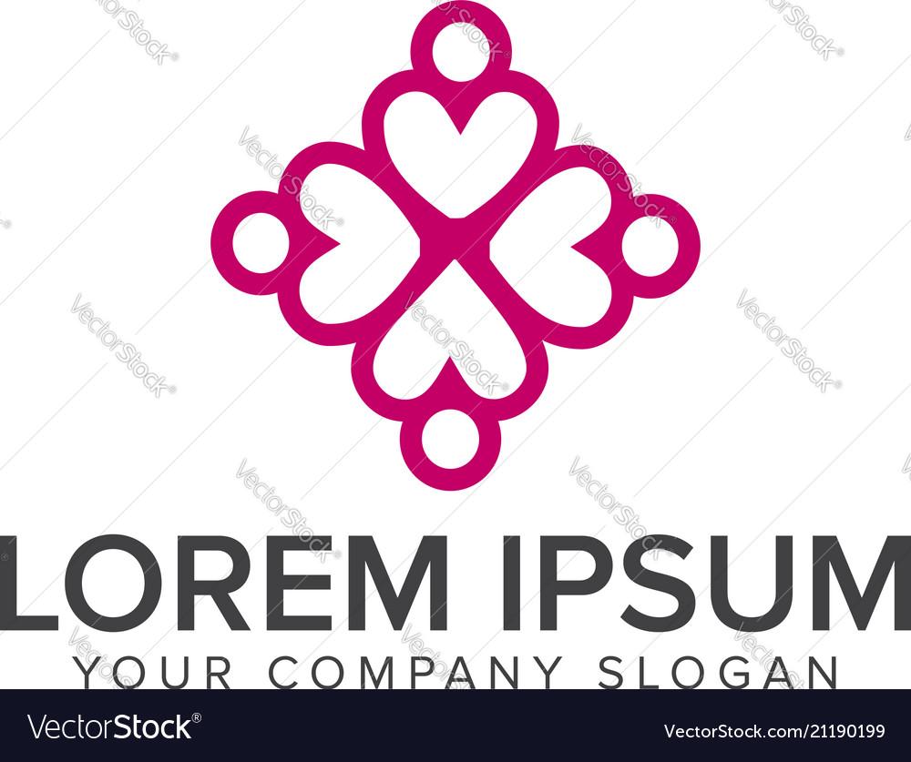 Cross heart logo relationship people logos design