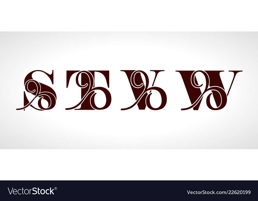 Decorative capital letters s t v w for your