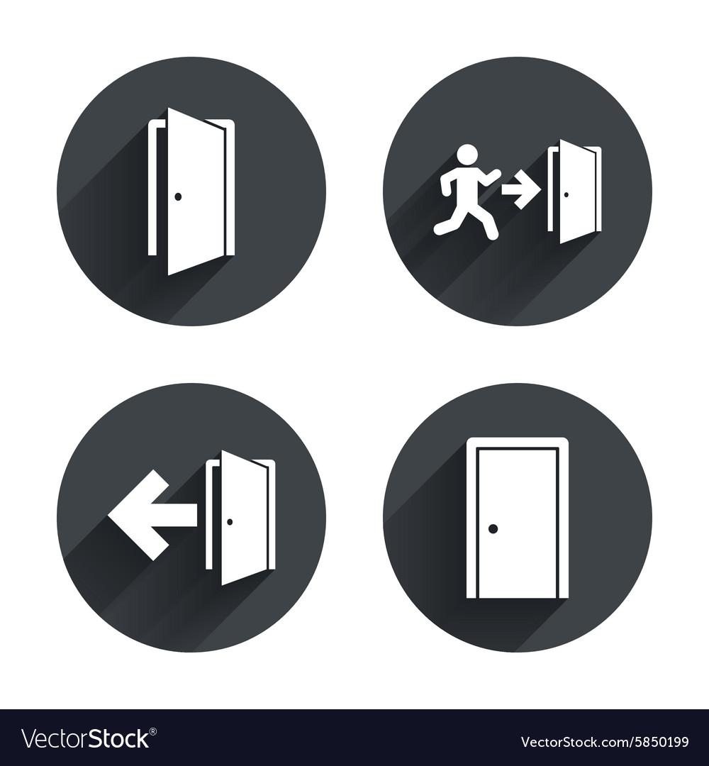 sc 1 st  VectorStock & Doors signs Emergency exit with arrow symbol Vector Image