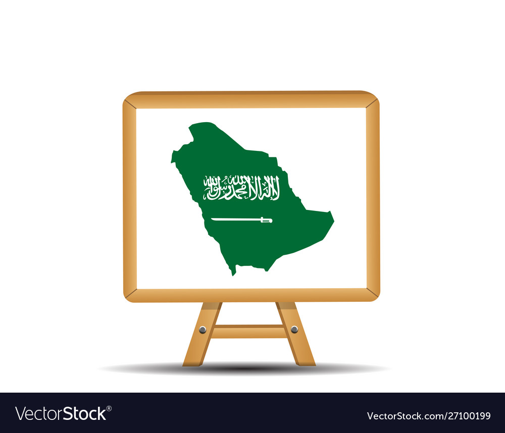 Green country map saudi arabia with a sword