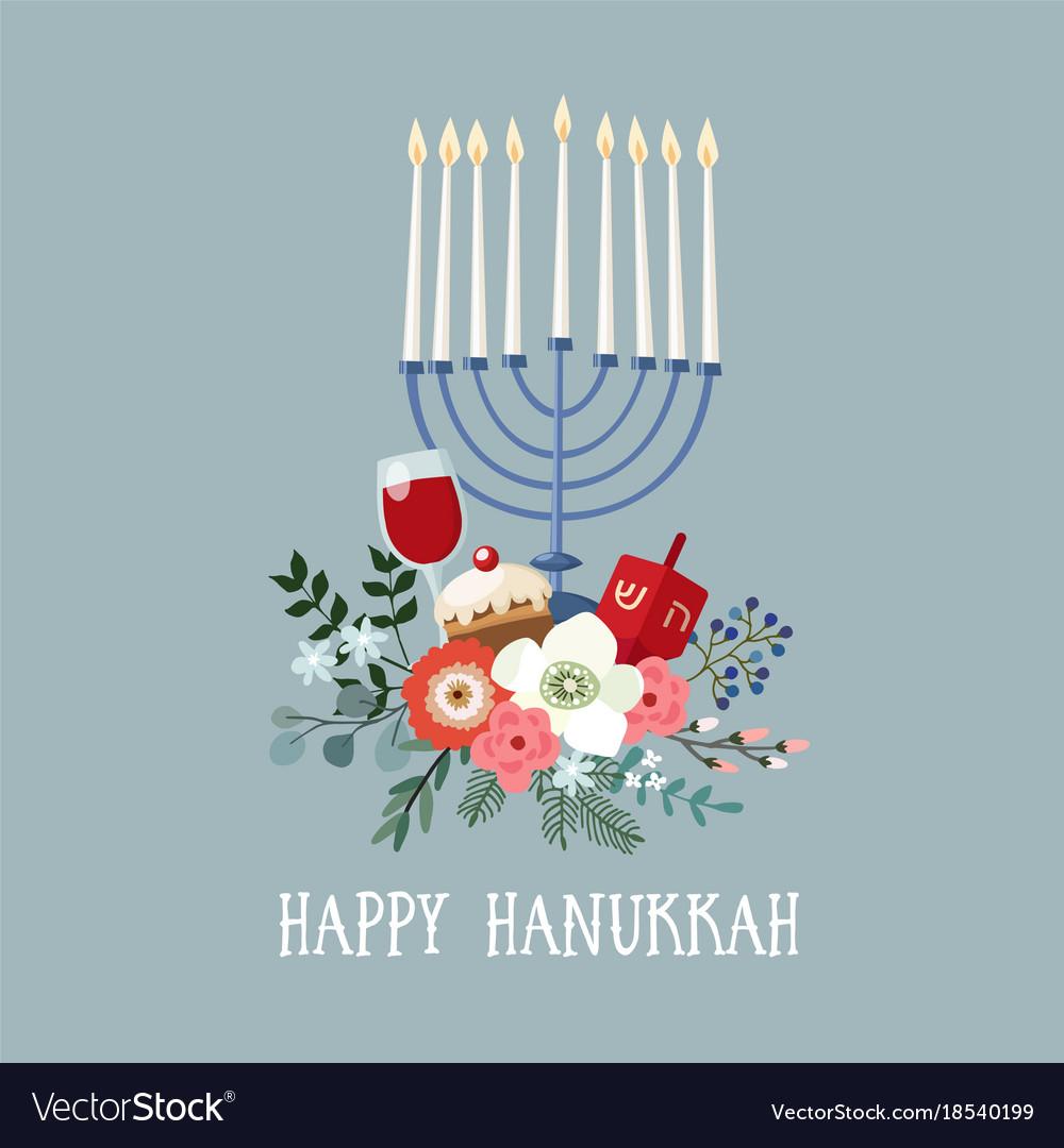 Happy hanukkah greeting card invitation with hand