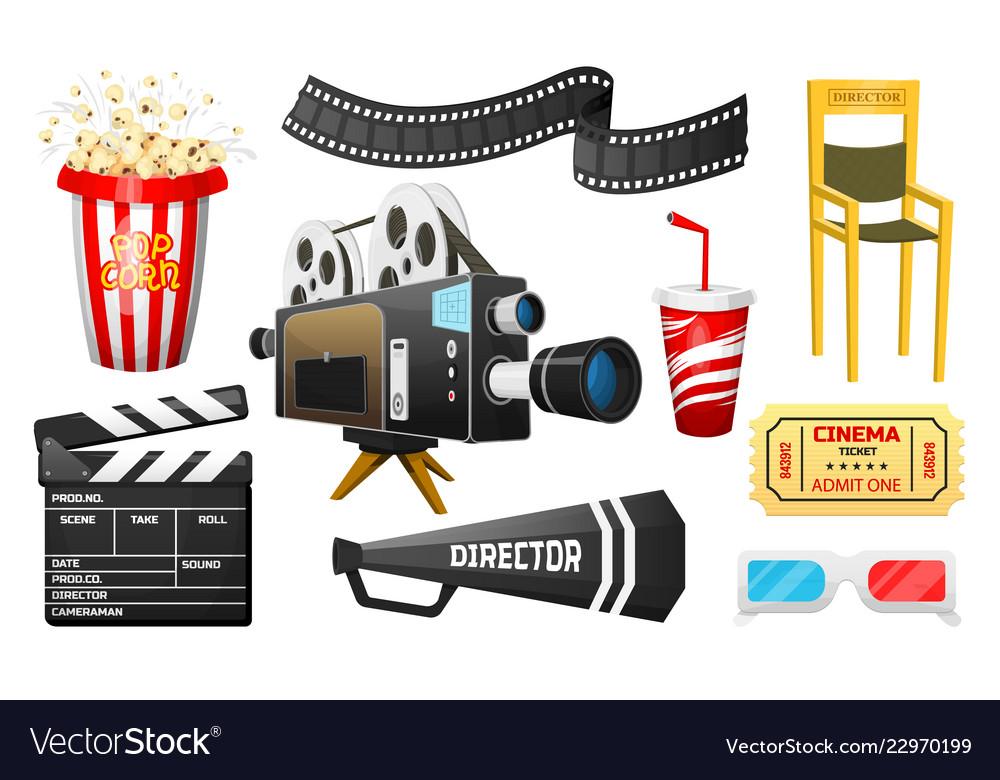 Movie elements set vintage online cinema popcorn