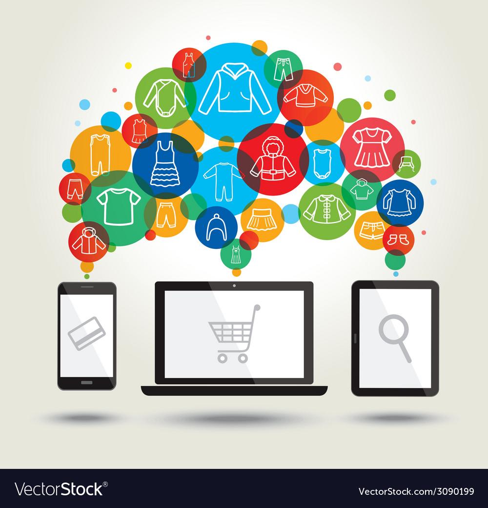 Online shopping Modern technology vector image