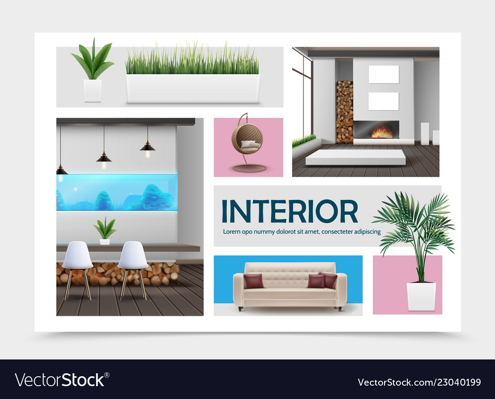 Realistic home interior elements collection