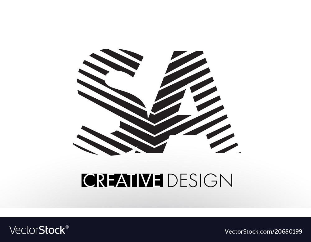 Sa s a lines letter design with creative elegant vector image