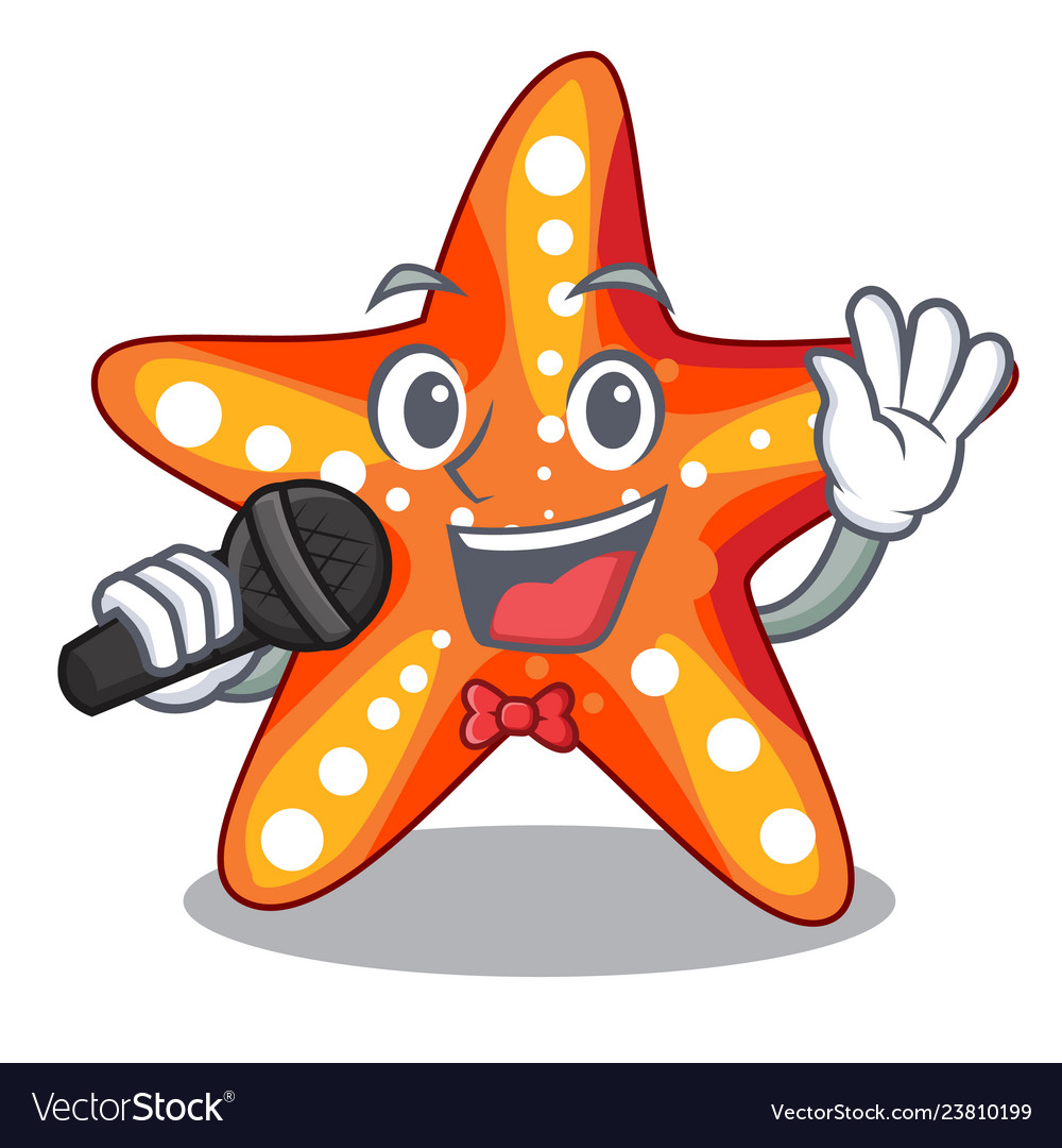 Singing Starfish Isolated With In The Cartoons Vector Image