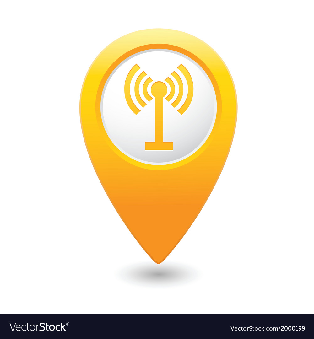 Wi fi icon yellow map pointer