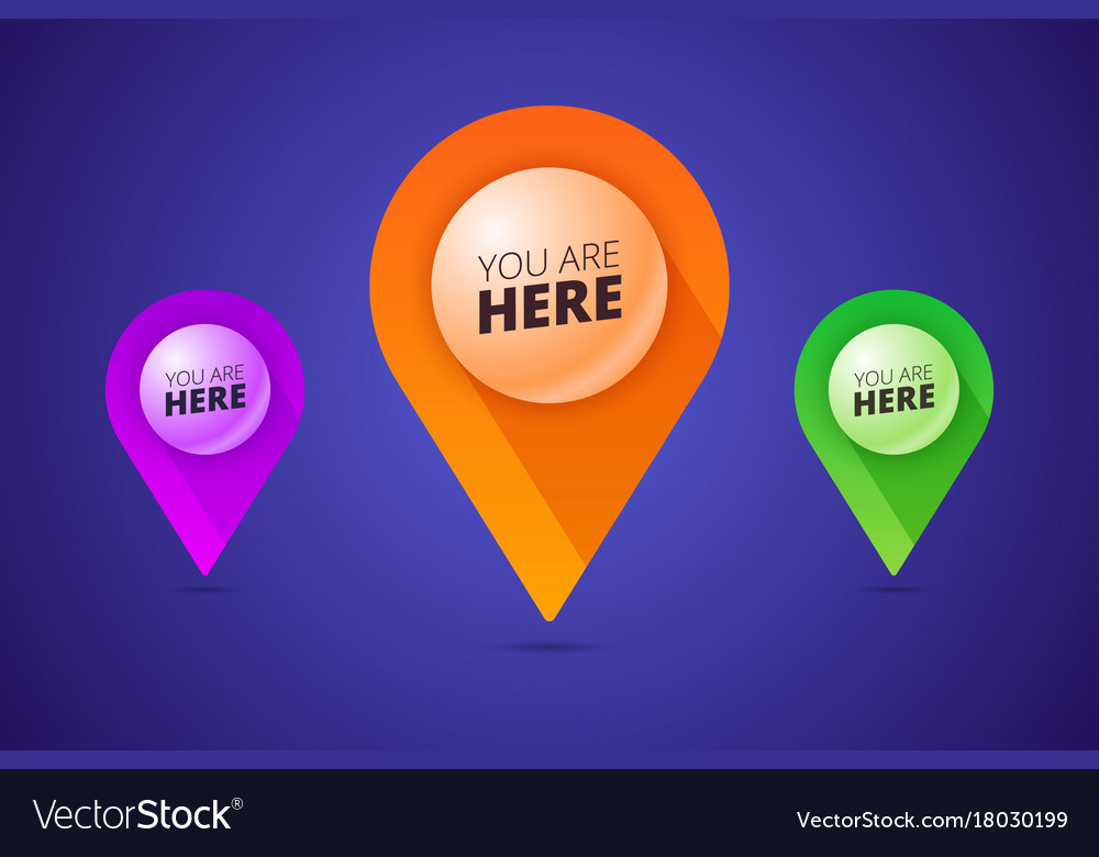 You are here signs with map pointer pin shape and